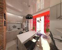 кухня минимализм с балконом в восточном стиле