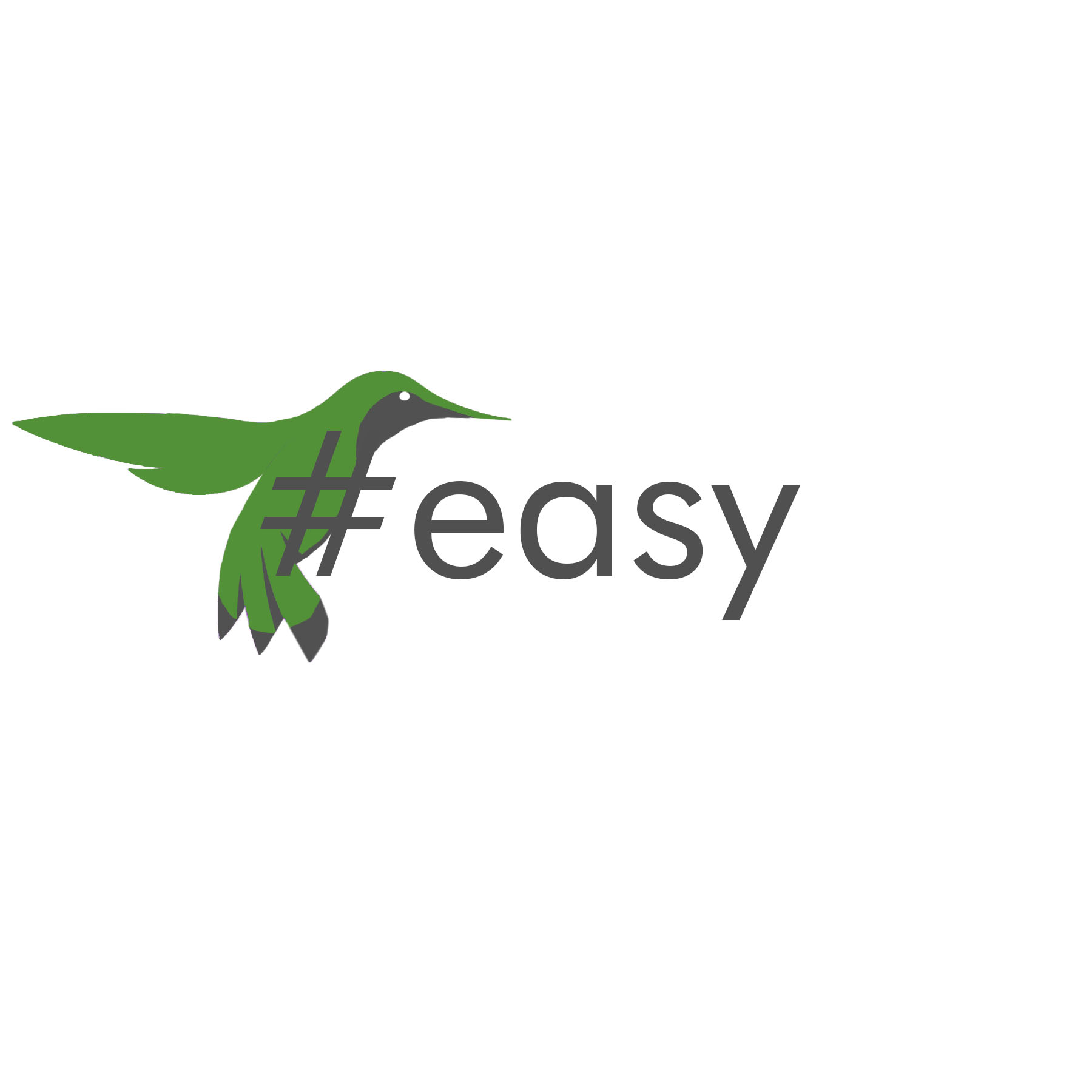 Разработка логотипа в виде хэштега #easy с зеленой колибри  фото f_8075d4dacdf4ea1d.jpg