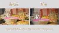 Стабилизация изображения, цвето и свето коррекция, удаление шума.