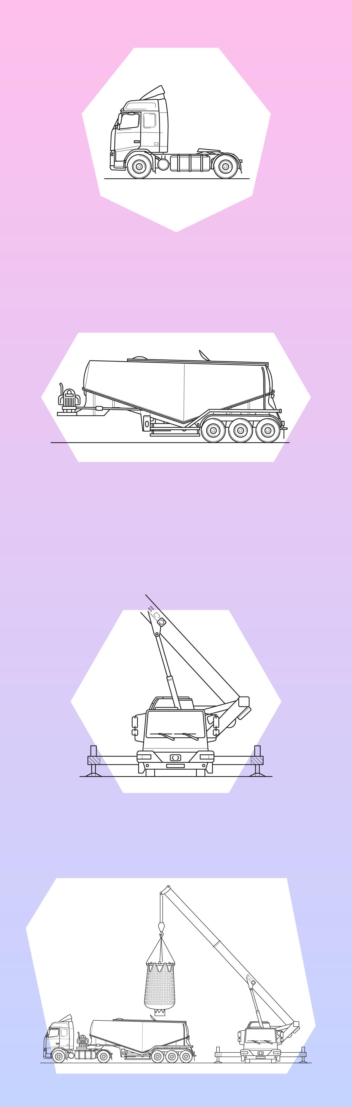 Кран и цементовоз