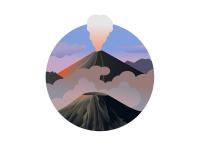 Иллюстрация вулканов Бромо и Семеру