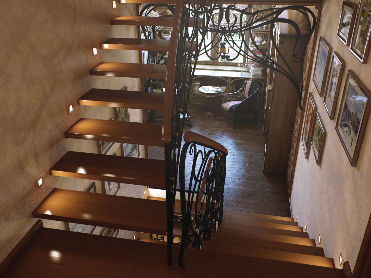 Лестница с библиотекой