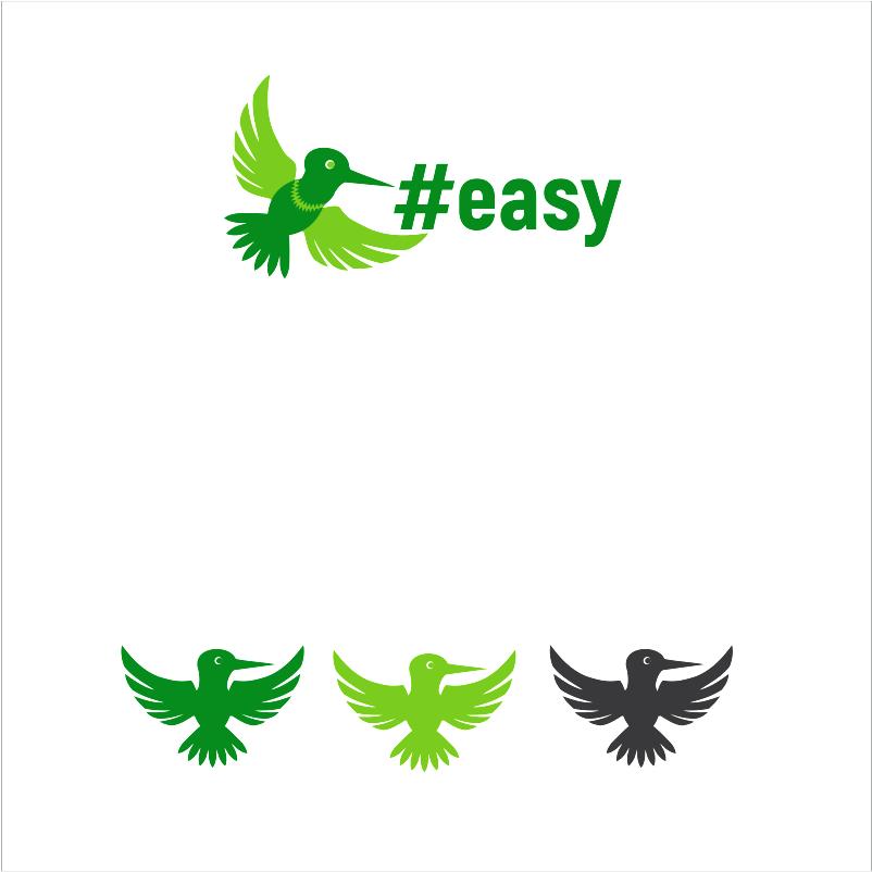 Разработка логотипа в виде хэштега #easy с зеленой колибри  фото f_1205d517040c3007.png