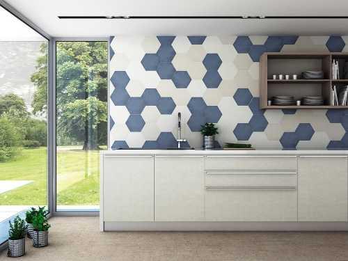 Дизайн кухонного фартука гексагональным пиксель-артом фото f_5475e1c00e6c2b0a.jpg