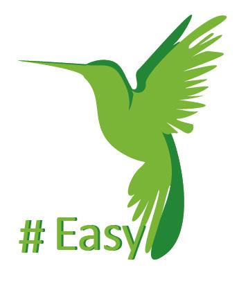Разработка логотипа в виде хэштега #easy с зеленой колибри  фото f_5395d511412b7866.jpg