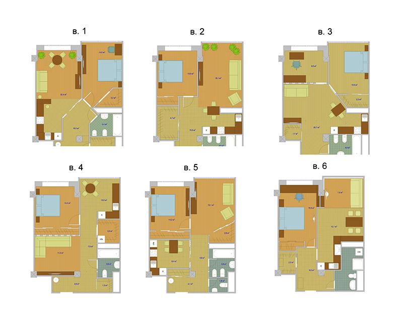 Шесть вариантов планировки одной квартиры