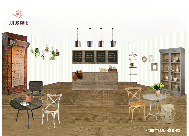 Концепт-борд для Lotus cafe