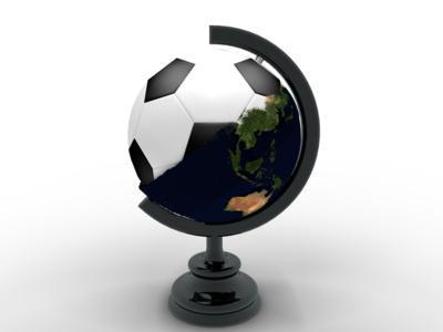 Глобус с футбольным мячем