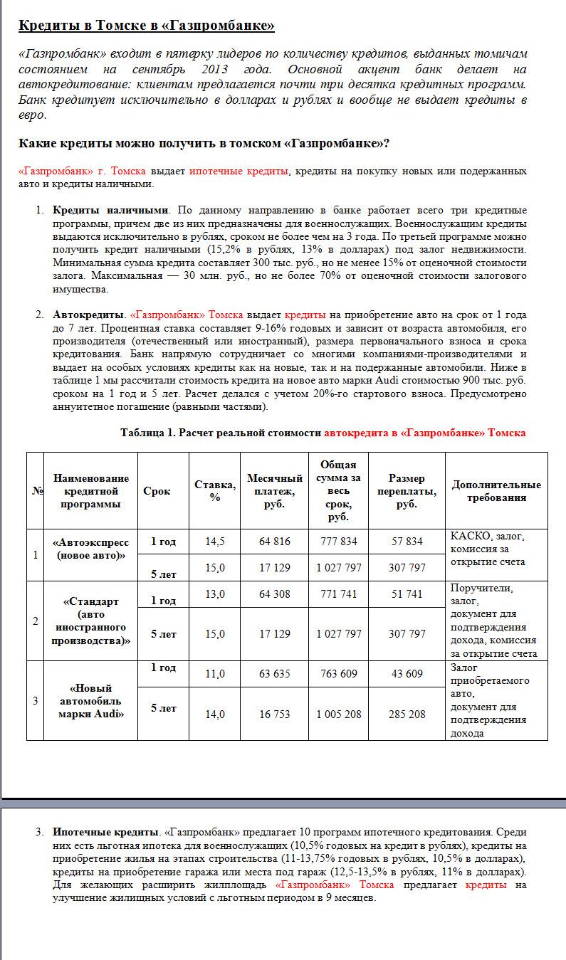 Кредитные программы Газпромбанка