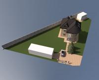 Реконструкция загородного дома. Аксонометрия участка.