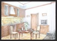 Загородный дом.Эскиз кухни.