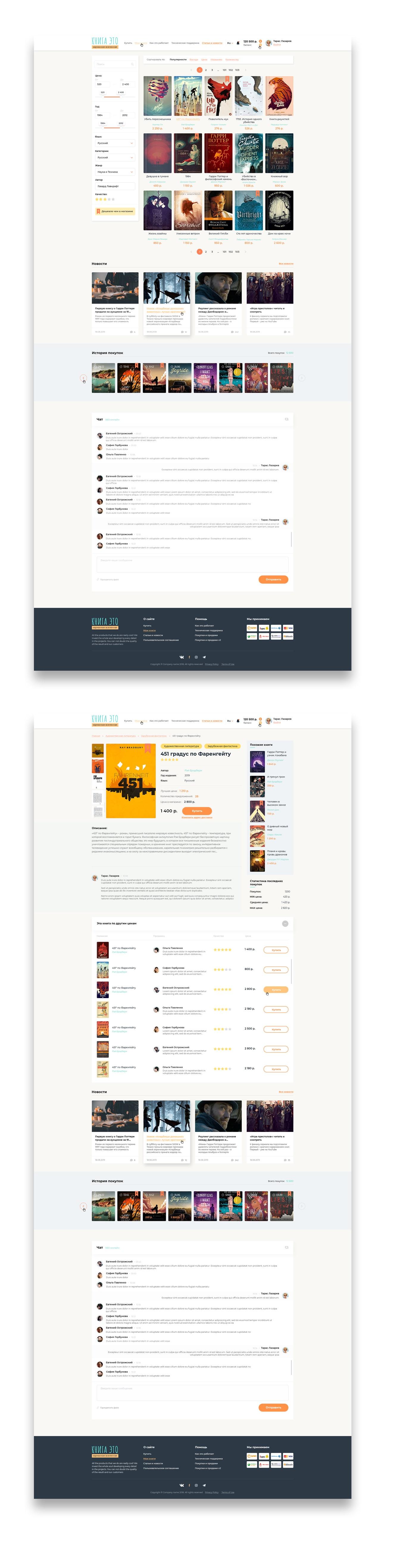 Дизайн сайта продажа и обмен книгами