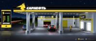3D модель автозаправки - ночь