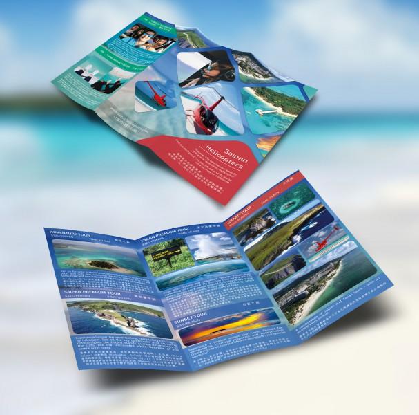 Буклет международного уровня для вертолетных туров в Сайпане.