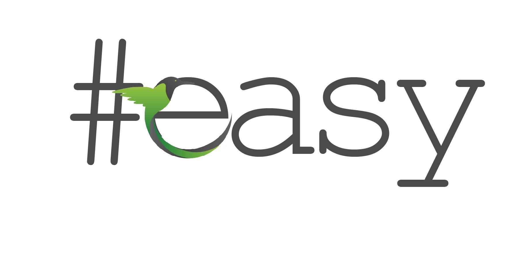 Разработка логотипа в виде хэштега #easy с зеленой колибри  фото f_2285d4eaa70112aa.jpg