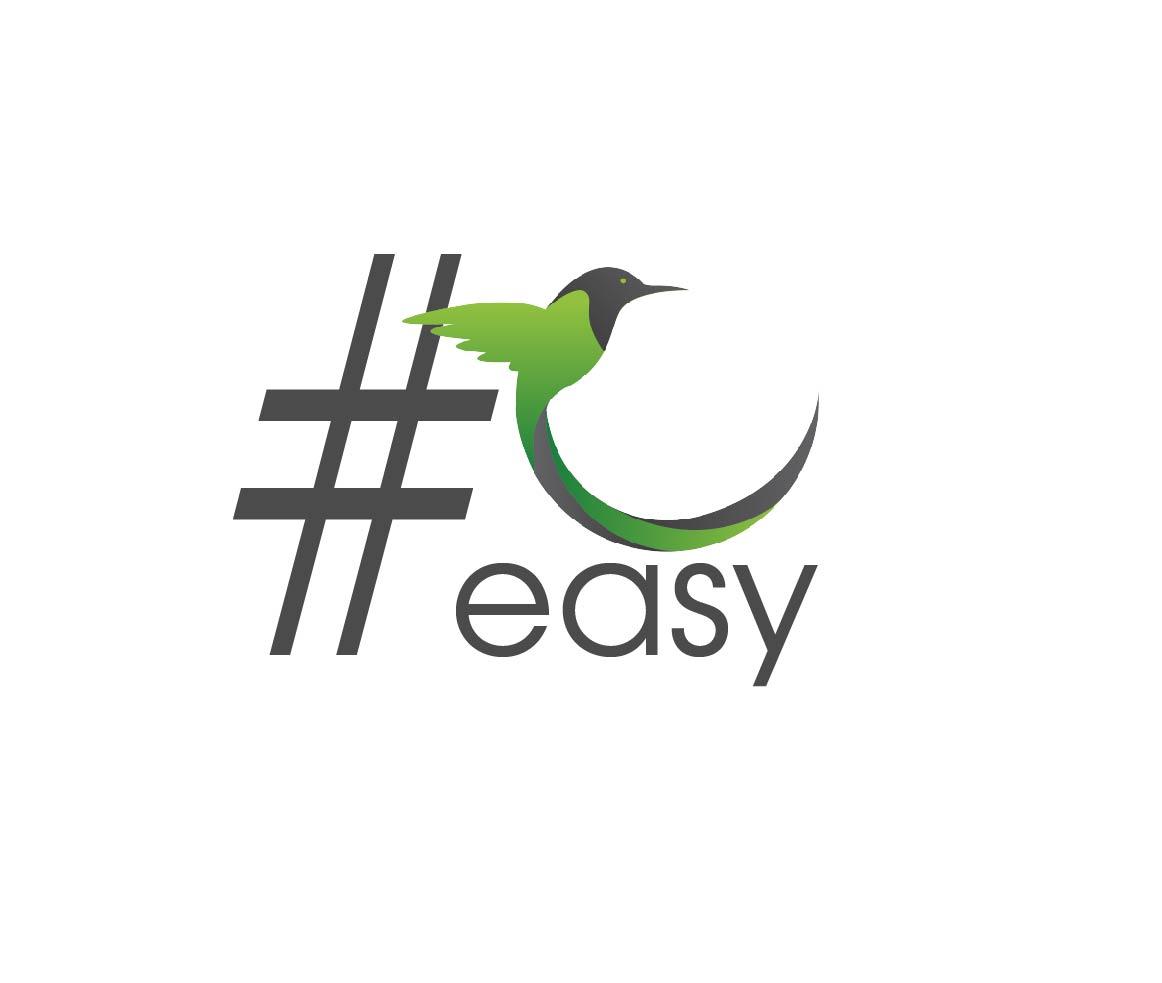 Разработка логотипа в виде хэштега #easy с зеленой колибри  фото f_8445d4eaa82689d3.jpg
