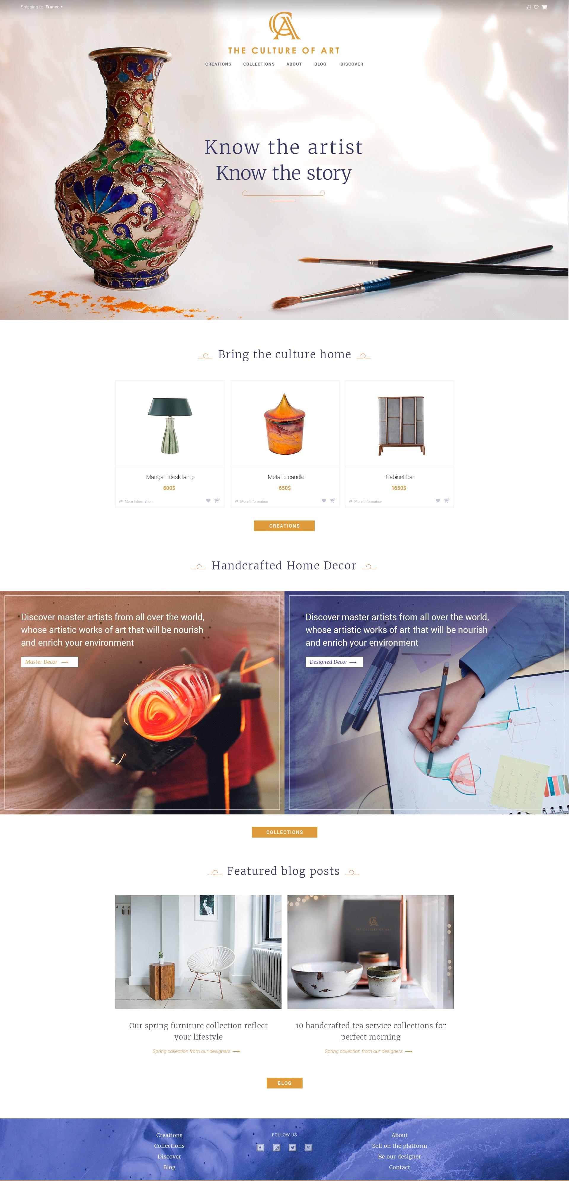 Дизайн интернет-магазина. Авторские предметы интерьера.