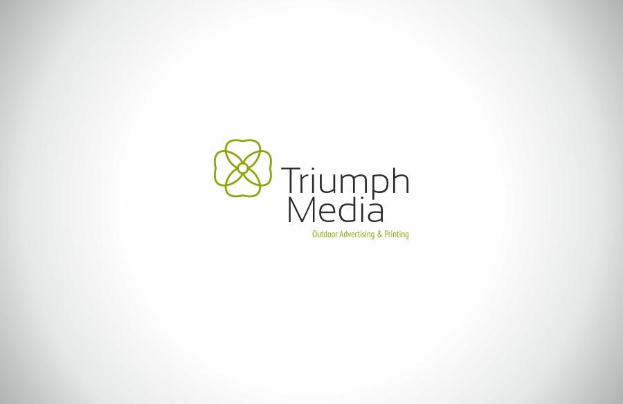 Разработка логотипа  TRIUMPH MEDIA с изображением клевера фото f_506f3b08abb5d.jpg