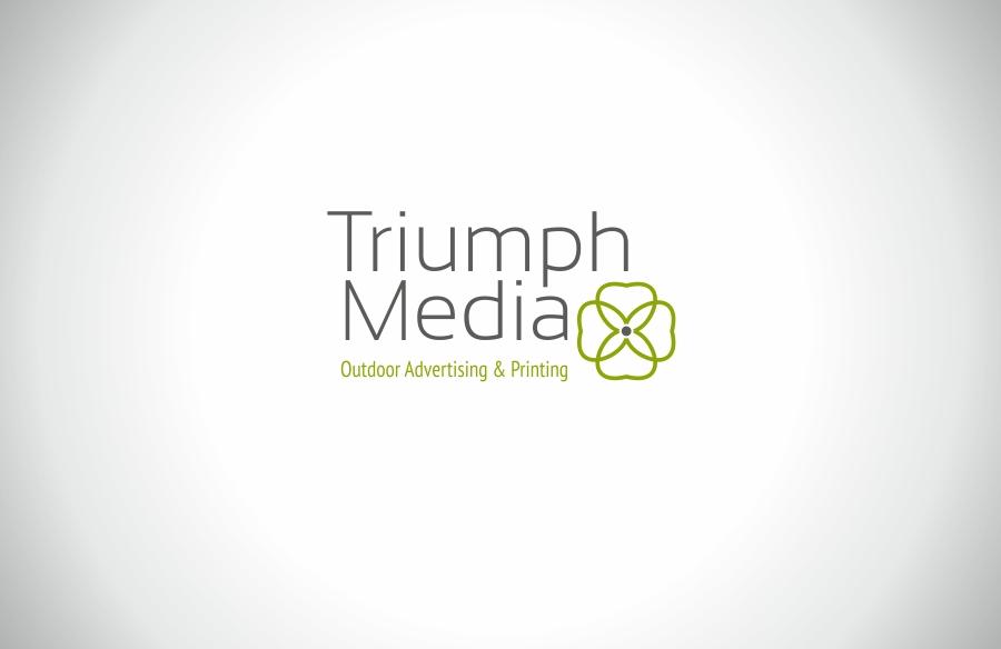 Разработка логотипа  TRIUMPH MEDIA с изображением клевера фото f_506f3c0ea3bfb.jpg
