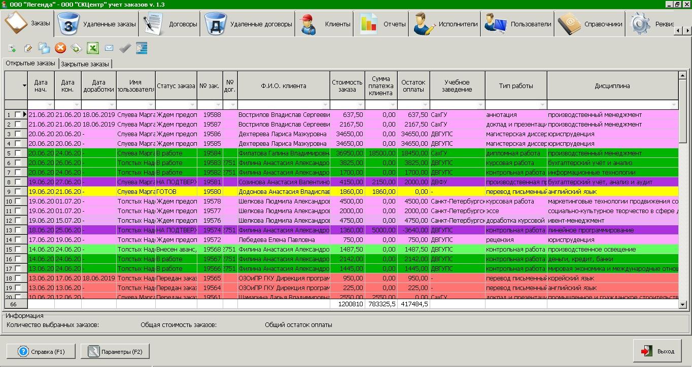 Система учета заказов консалтинговой компании