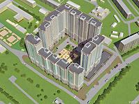 Визуализация жилого комлпекса при наличии 3д моделей зданий
