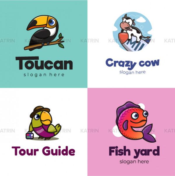 Тукан, корова, попугай, рыба