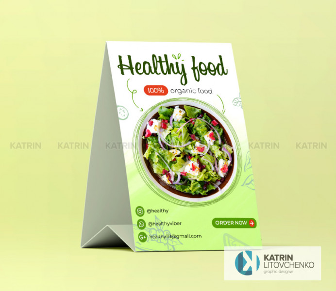 Table tent healthy food