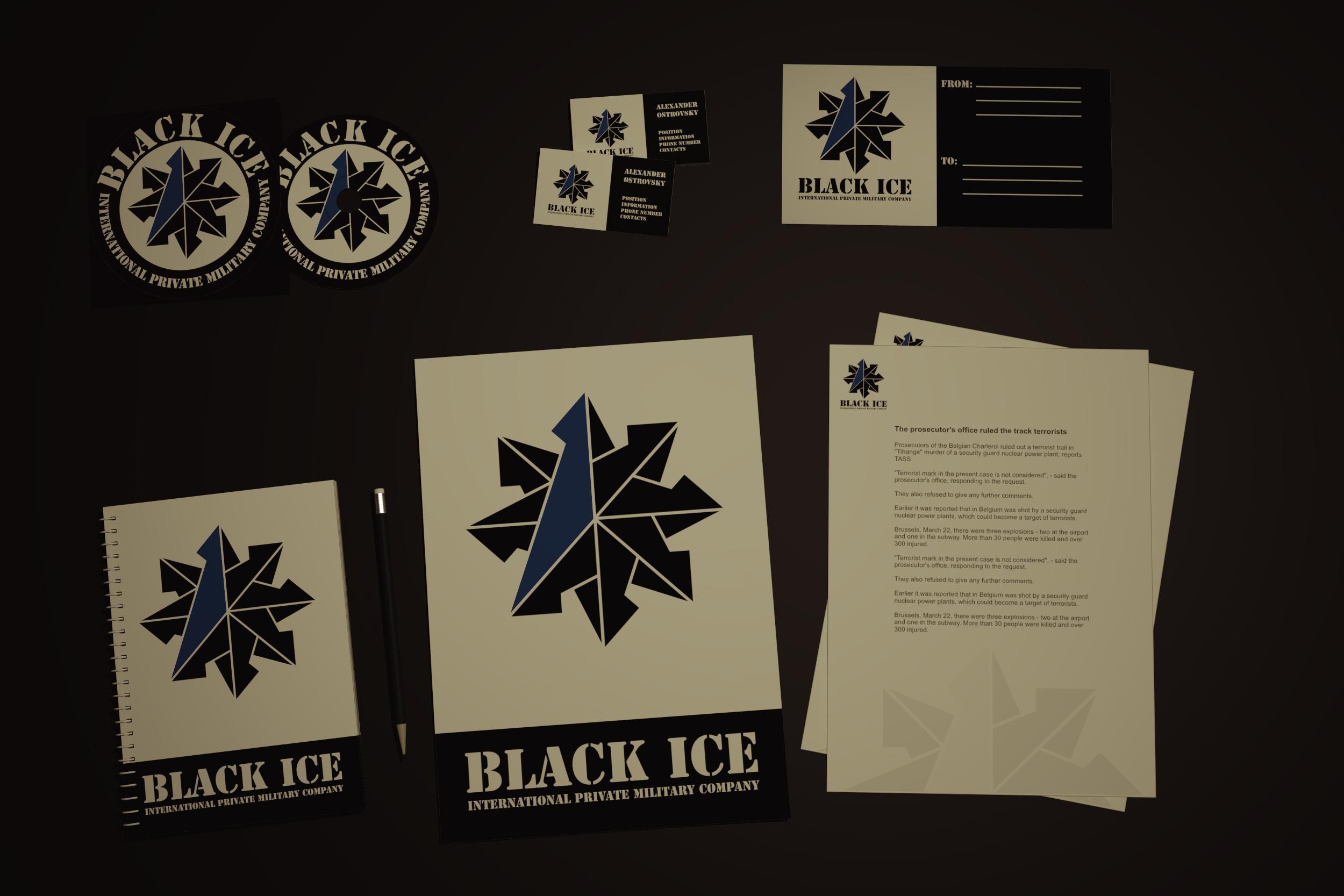 """Логотип + Фирменный стиль для компании """"BLACK ICE"""" фото f_32856f6d5357cef4.jpg"""
