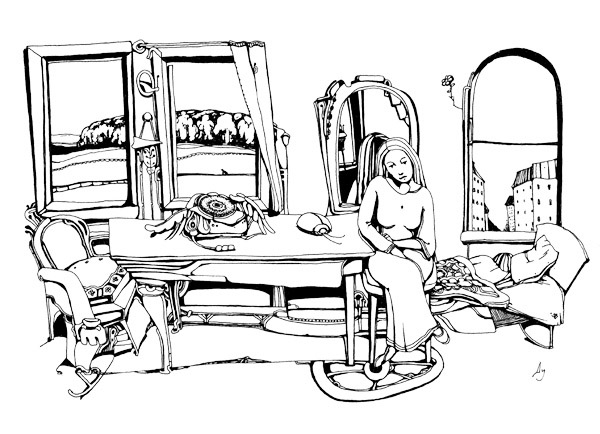 """""""Зеркало"""". 30х15 см, гелевая ручка, бумага. 2001 год"""