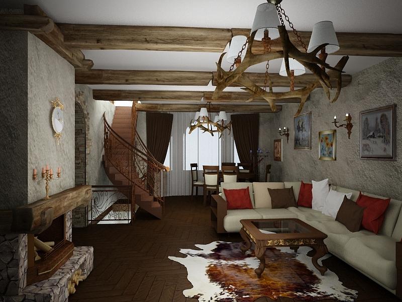 Дом в замковом стиле гостиная
