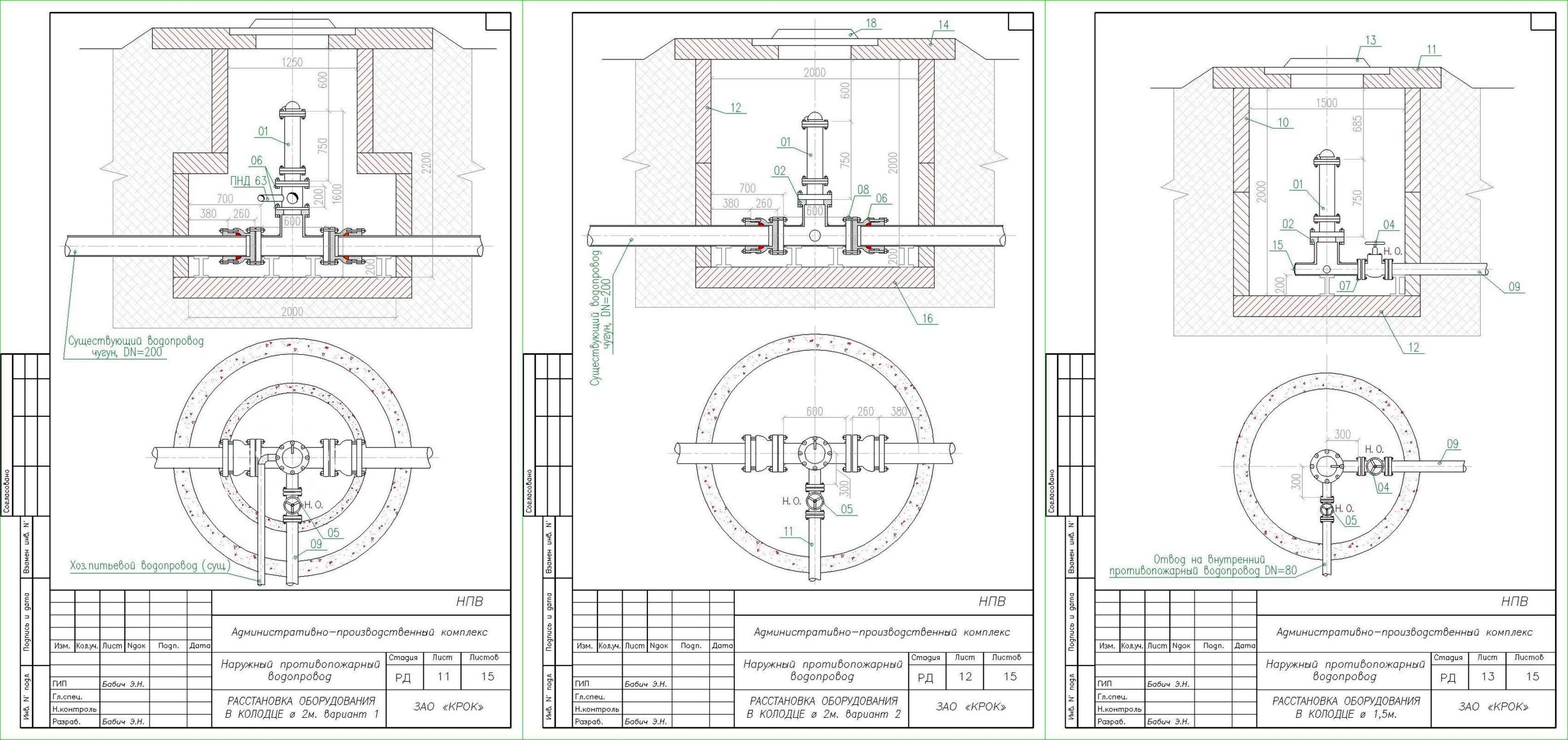 Установка гидрантов в колодцах. Наружный противопожарный водопровод (НПВ)