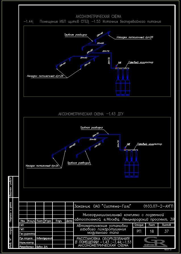 Газ 1.43;1.44;1.53 Аксонометрическая