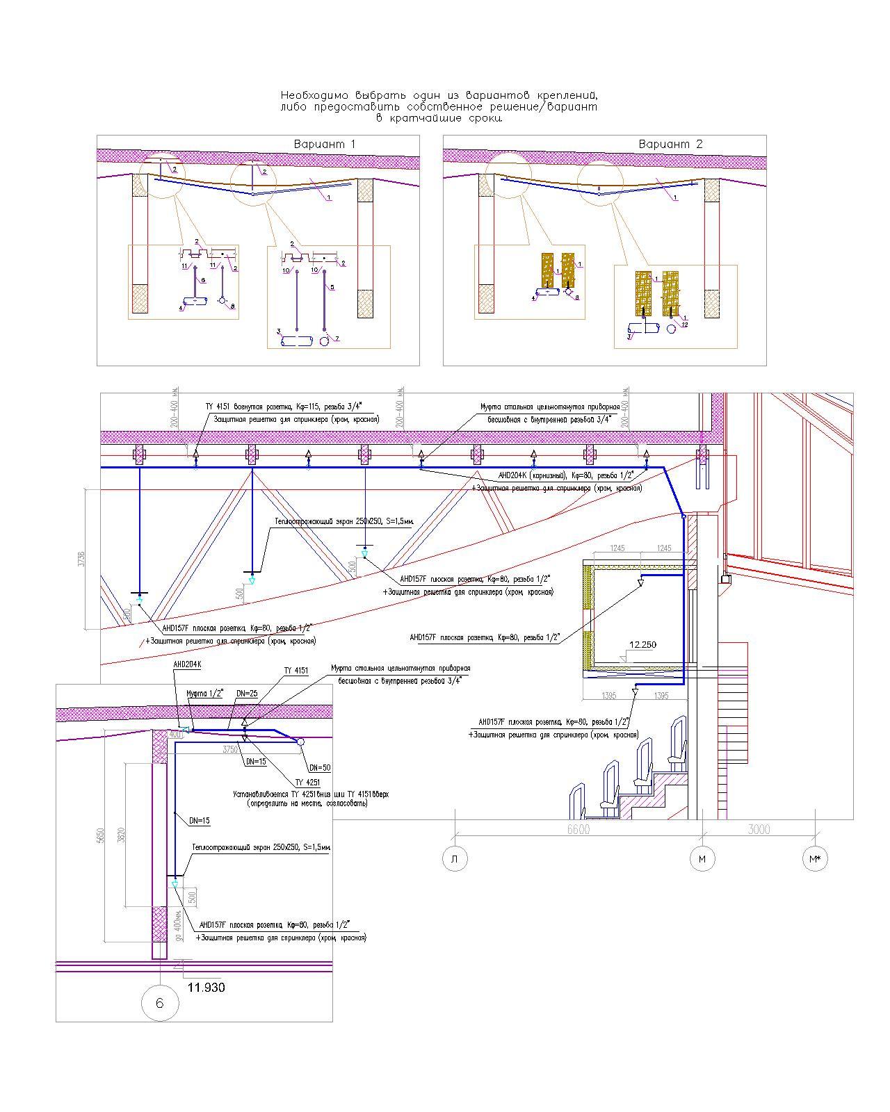 Варианты креплений трубопроводов АУПТ