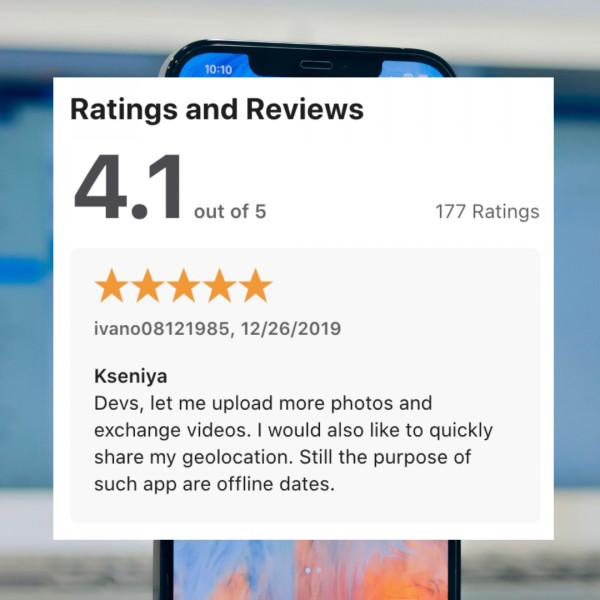 ASO / 120 отзывов в AppStore для BiOpen (знакомства)