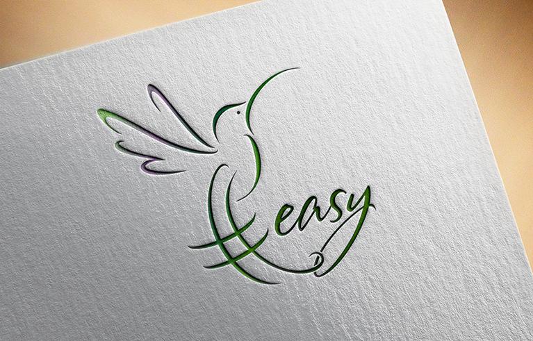 Разработка логотипа в виде хэштега #easy с зеленой колибри  фото f_8325d5332f6ba2cf.png