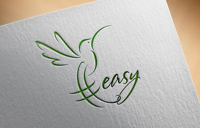 Разработка логотипа в виде хэштега #easy с зеленой колибри  фото f_8735d533319555f5.png
