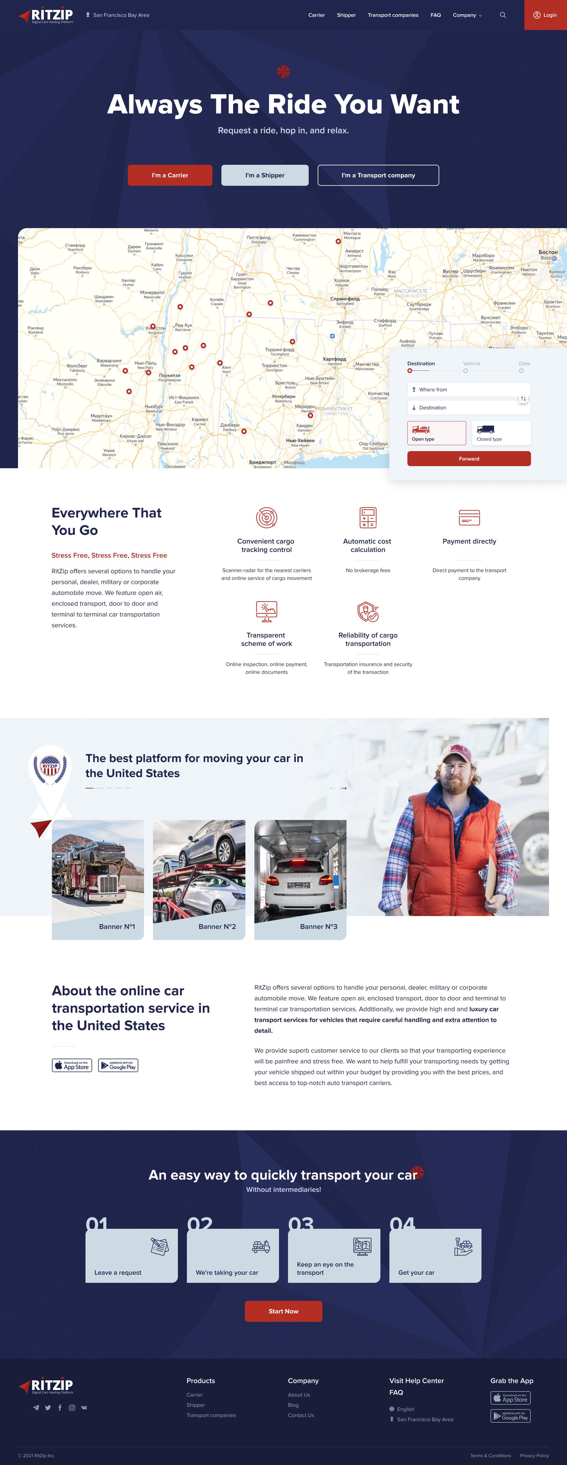 Дизайн сайта - автоперевозка авто в США -car hauling фото f_07660812677a9a3b.jpg