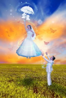 Бабочки (обработка свадебного фото)