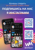 Информационный плакат для Веллмарт, подпишитесь на наш инстаграм