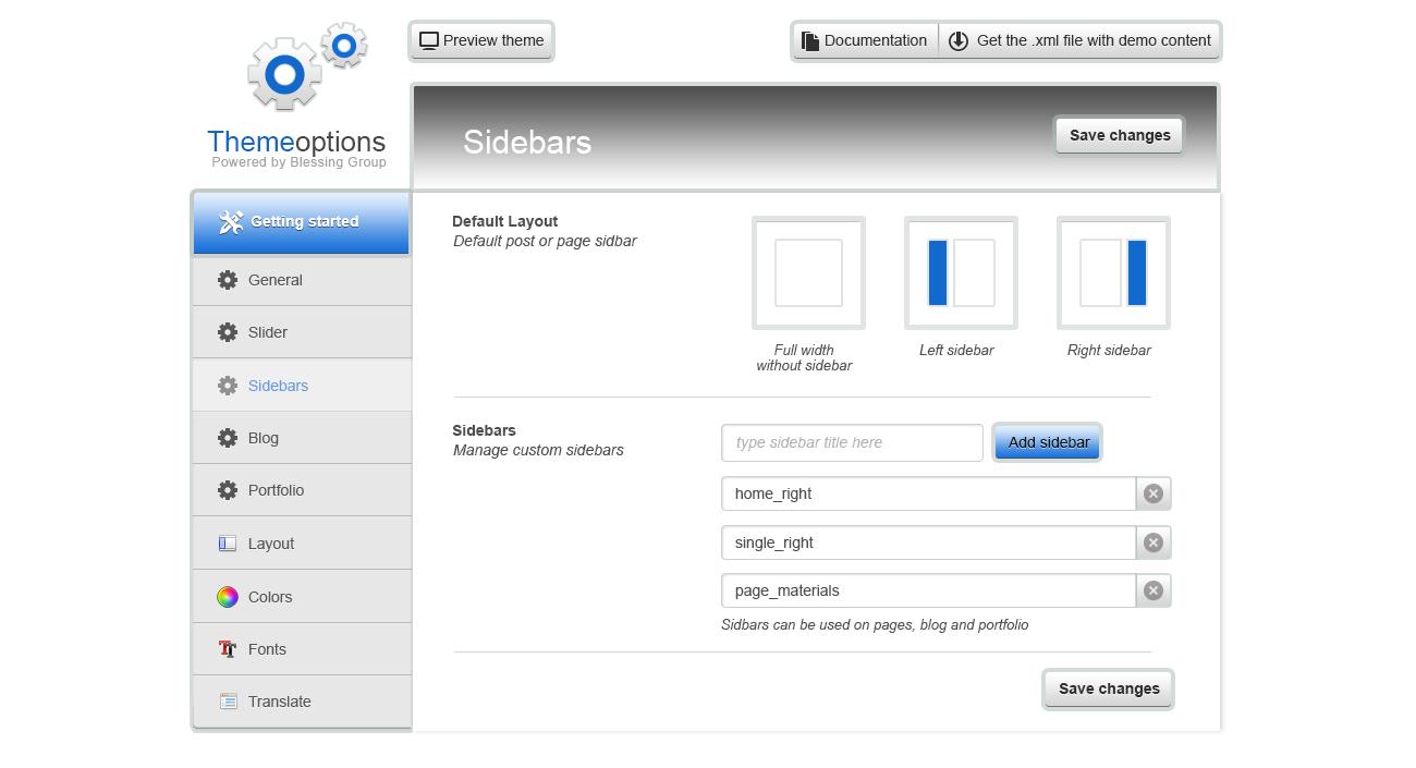 Дизайн панели управления Шаблоном под Wordpress