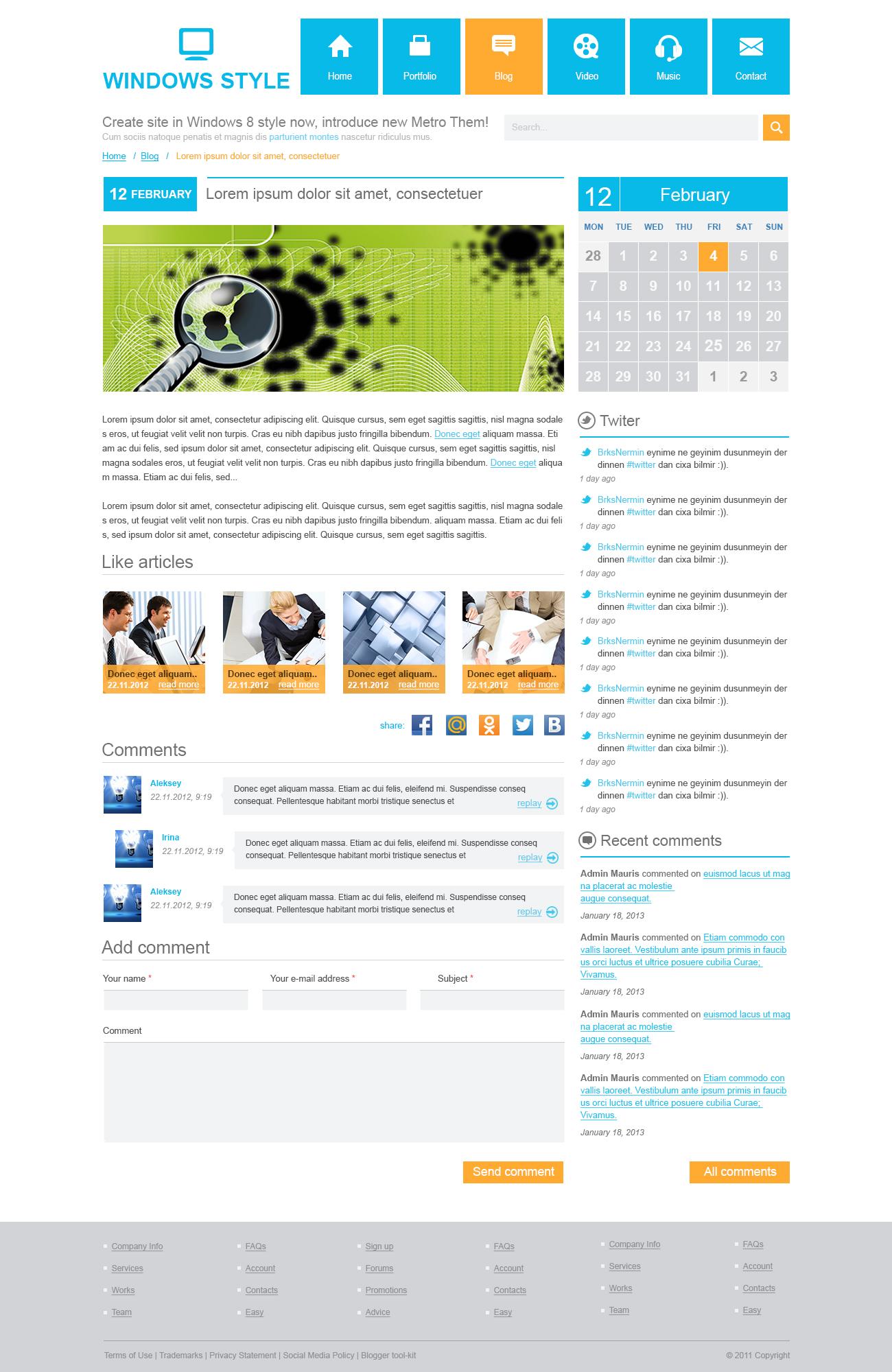 Разработка дизайна шаблона для Wordpress - vn1 (+все внутренние)