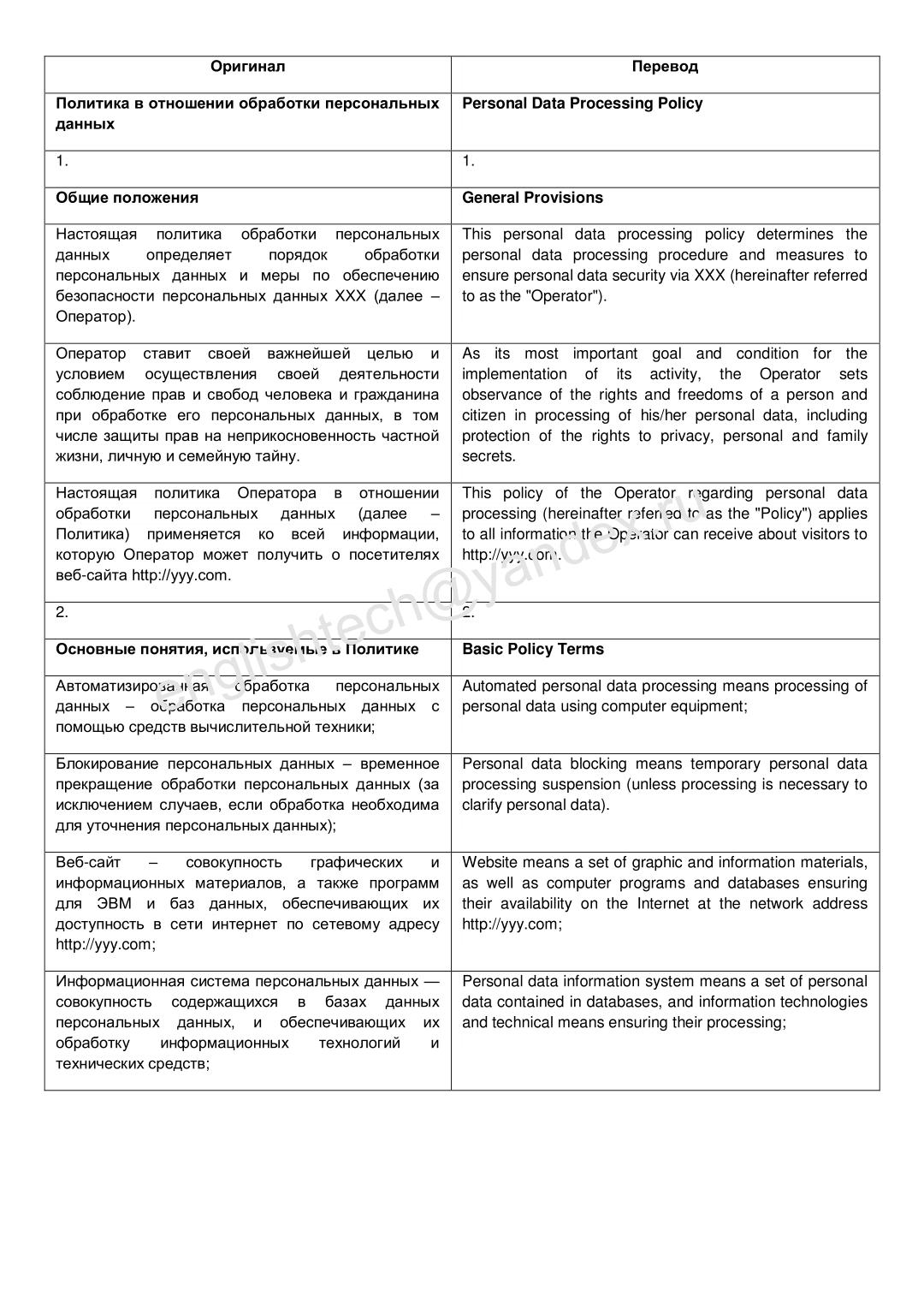 Политика в отношении обработки персональных данных (Ru-En)
