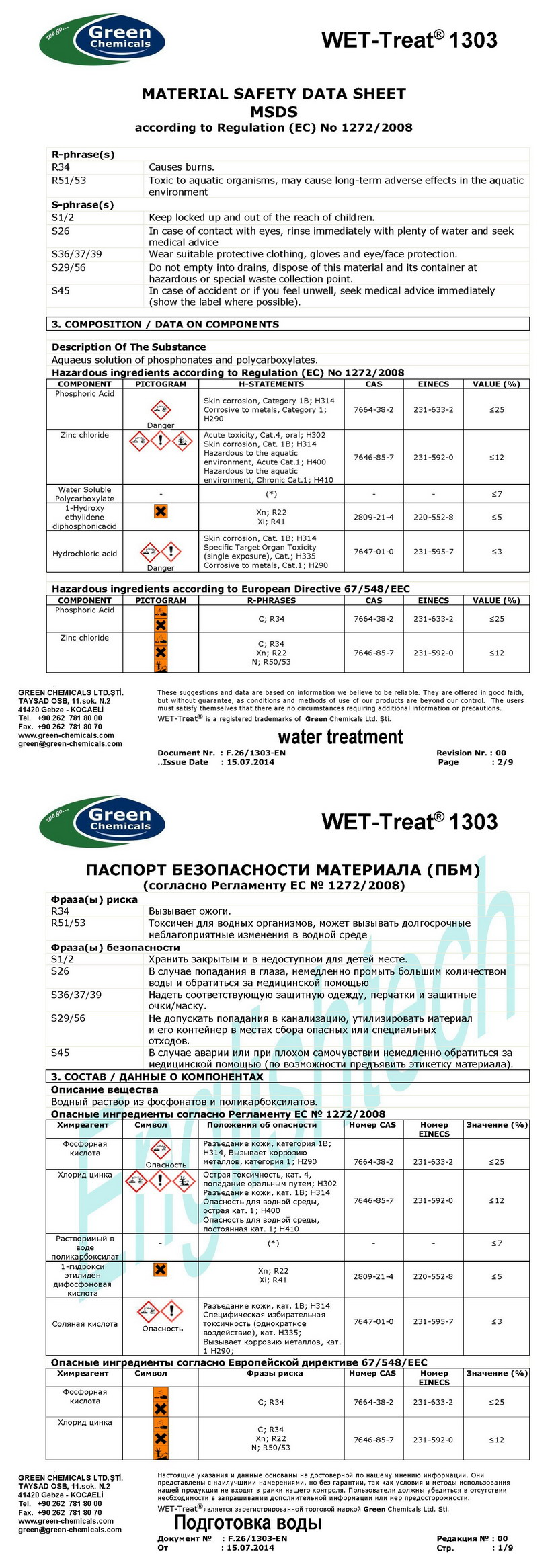 Паспорт безопасности химического вещества (MSDS)