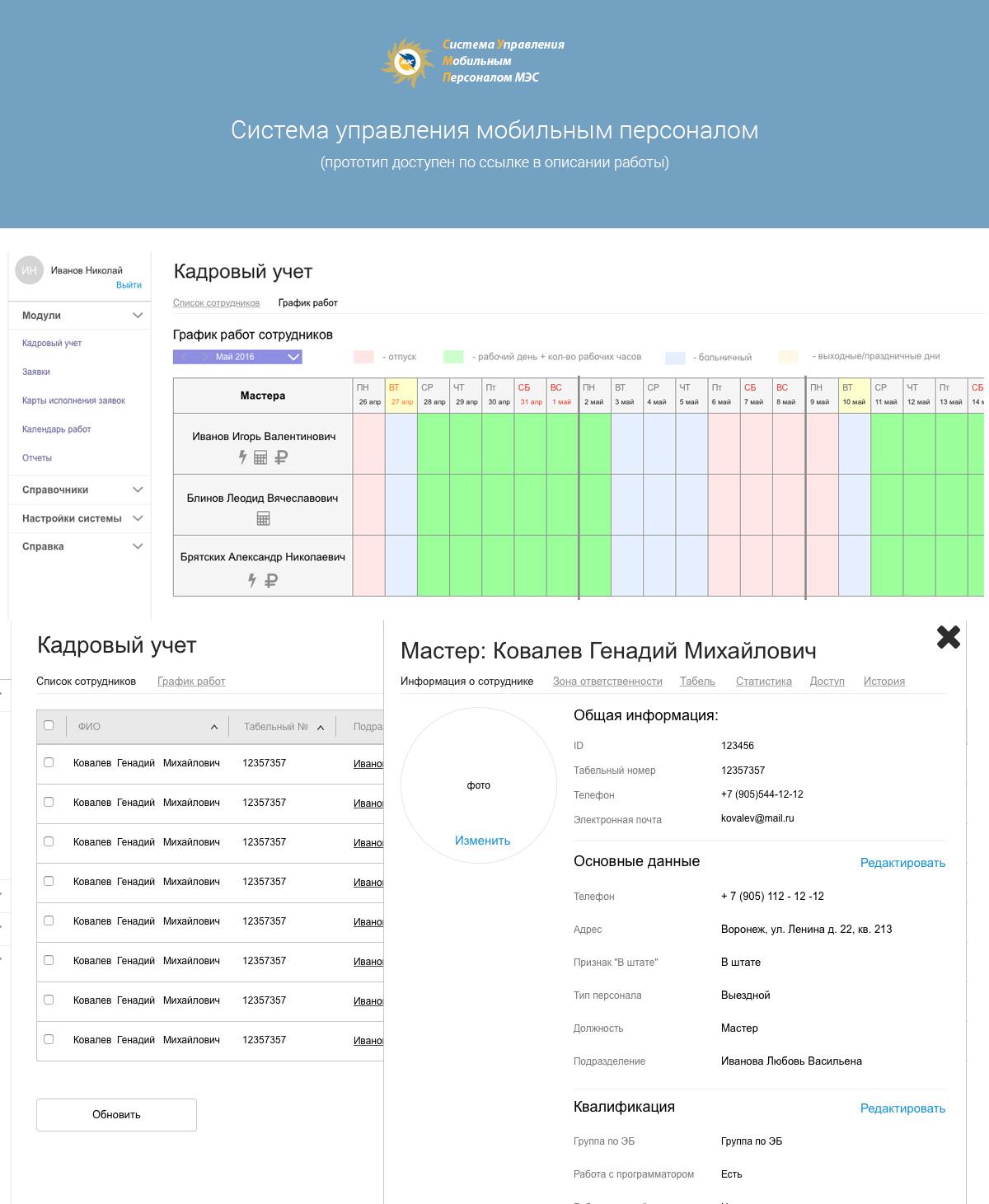 Система Управления Мобильным Персоналом - Динамический прототип