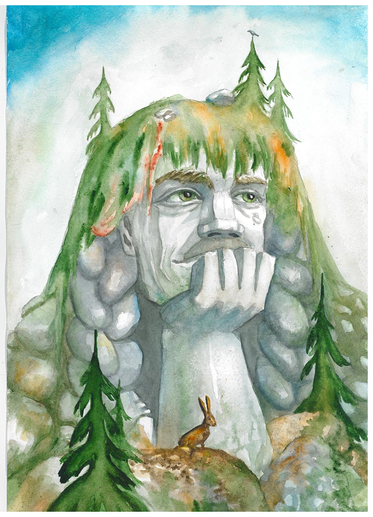 Тролль-мечтатель (иллюстрация к стихотворению)