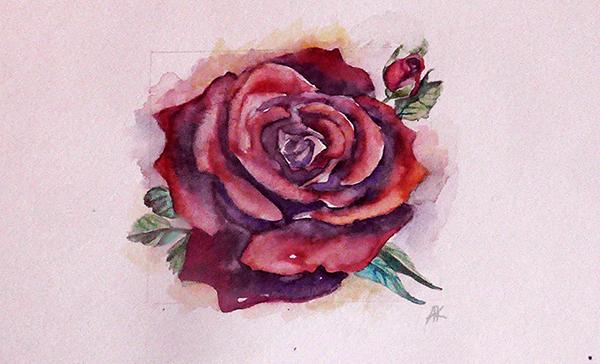 Роза (акварель) Экиз 2 для татуировки