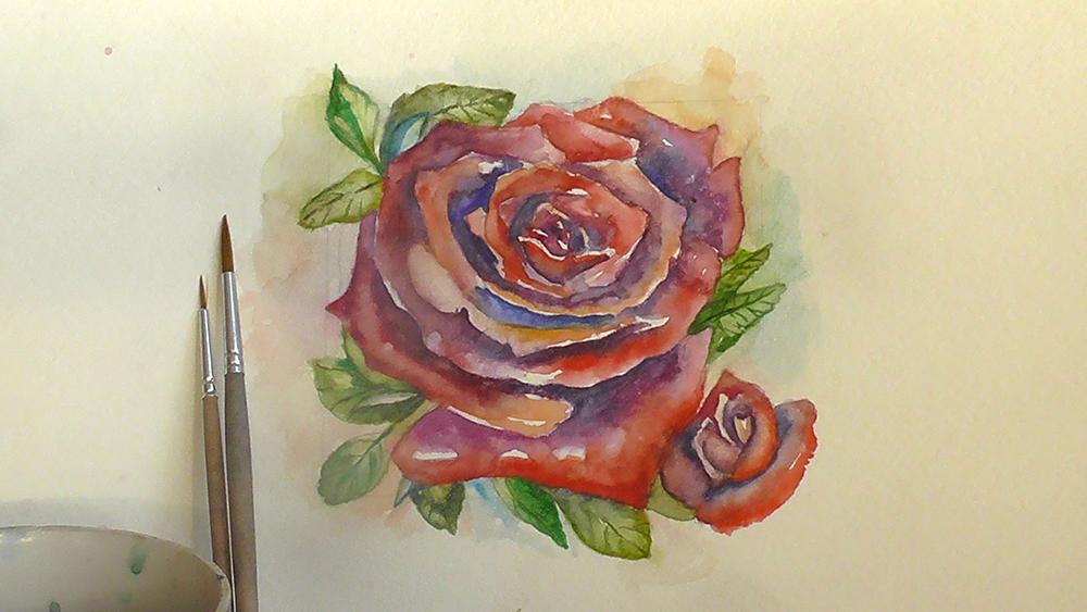 Роза (акварель) Экиз для татуировки