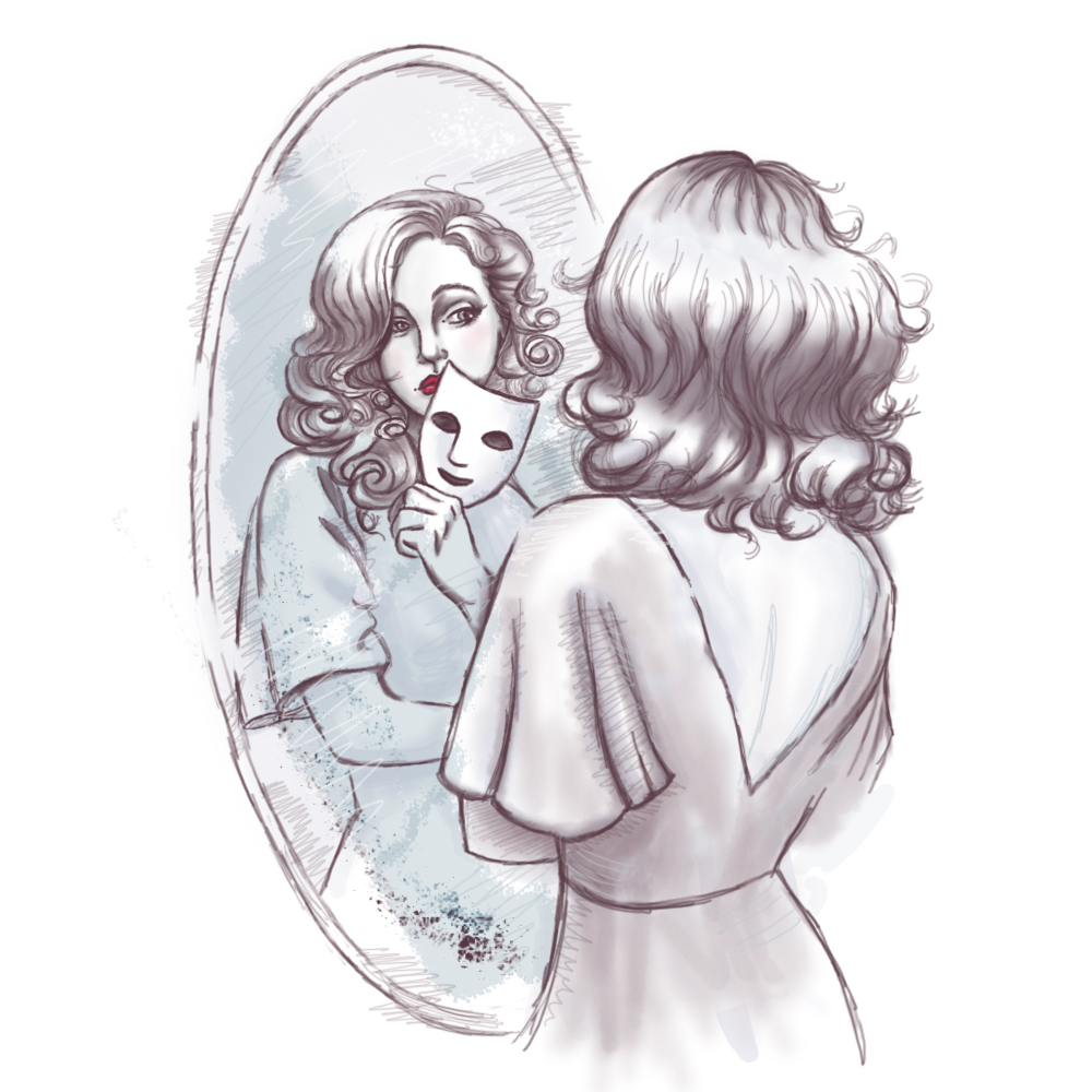 Скетч девушка у зеркала