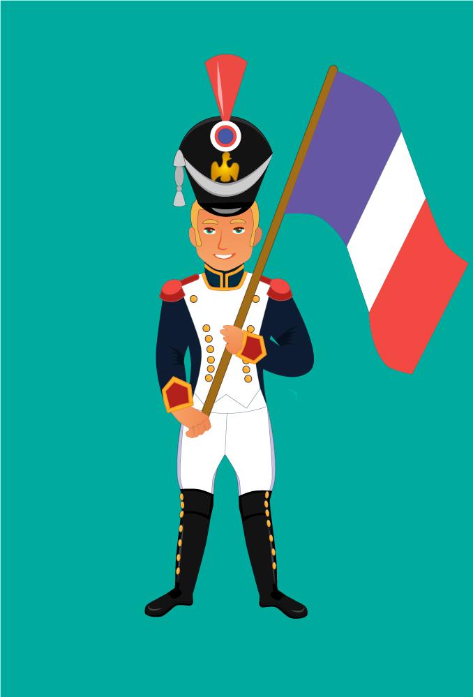 Солдатик-знаменосец наполеоновской армии (для коллекции детских солдатиков)