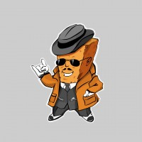 Сухарик гангстер. Персонаж для  упаковок с сухариками